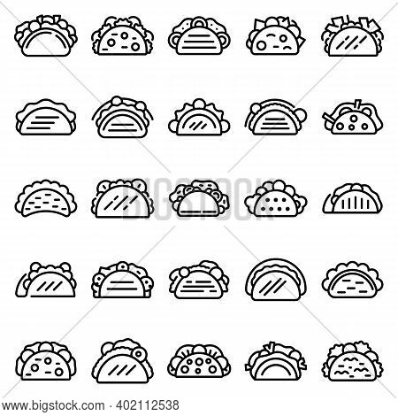 Tacos Icons Set. Outline Set Of Tacos Vector Icons For Web Design Isolated On White Background