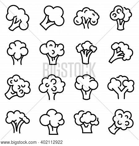 Broccoli Icons Set. Outline Set Of Broccoli Vector Icons For Web Design Isolated On White Background
