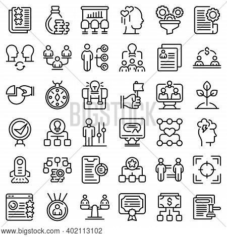 Contribute Work Icons Set. Outline Set Of Contribute Work Vector Icons For Web Design Isolated On Wh