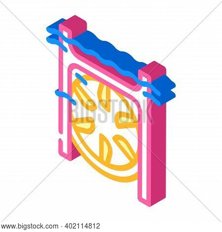 Submarine Tidal Power Plant Isometric Icon Vector Illustration