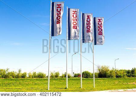 Samara, Russia - May 14, 2020: Dealership Flags Of Bosch Company Against The Blue Sky. Robert Bosch
