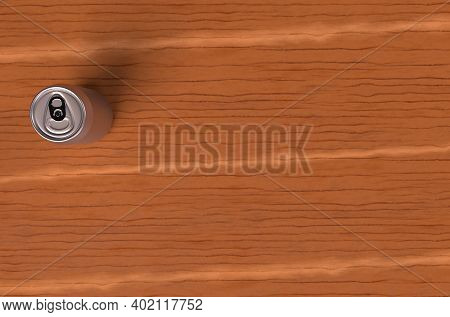 A Silver Beer Can Placed On The Wooden Table 3d Render