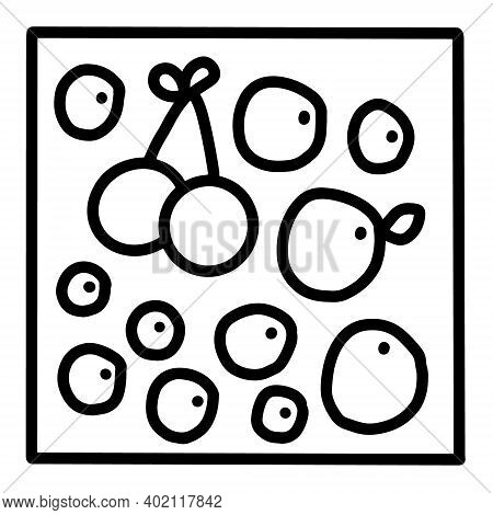 Berries Blueberry Cranberry Cherry Hand Drawn Vector Icon Doodle Logo In Cartoon Style Black White C