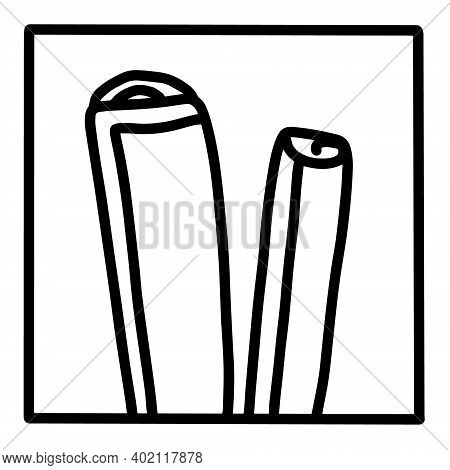 Celery Hand Drawn Vector Icon Doodle Logo In Cartoon Style Black White Contrast