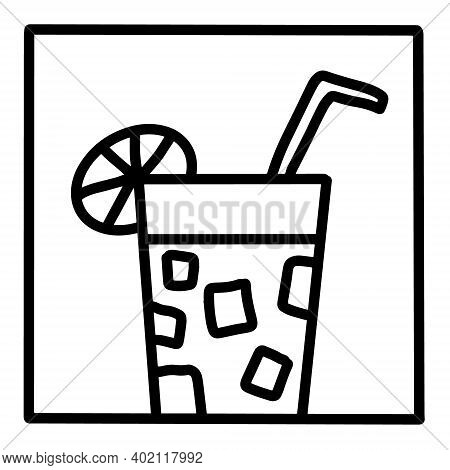 Lemonade Hand Drawn Vector Icon Doodle Logo In Cartoon Style Black White Contrast
