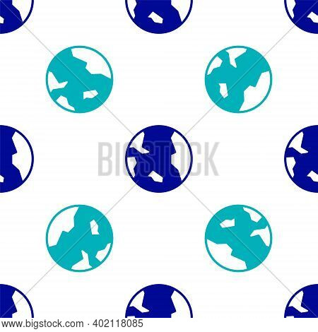 Blue Earth Globe Icon Isolated Seamless Pattern On White Background. World Or Earth Sign. Global Int
