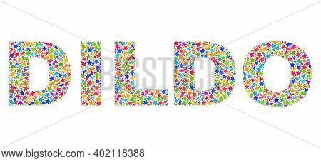 Dildo Caption With Bright Mosaic Flat Style. Colorful Vector Illustration Of Dildo Caption With Scat