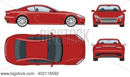 Red Sports Car Vector Template With Simple Colors Without Gradients And Effects. View From Side, Fro