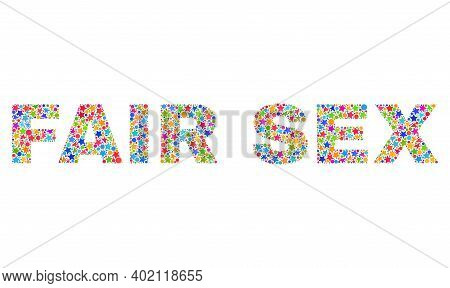 Fair Sex Caption With Bright Mosaic Flat Style. Colorful Vector Illustration Of Fair Sex Caption Wit