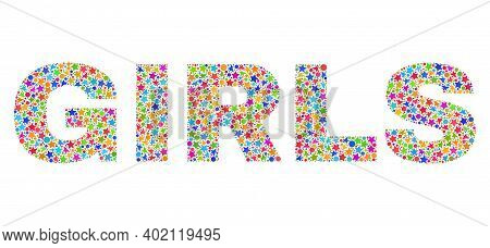 Girls Caption With Bright Mosaic Flat Style. Colorful Vector Illustration Of Girls Caption With Scat