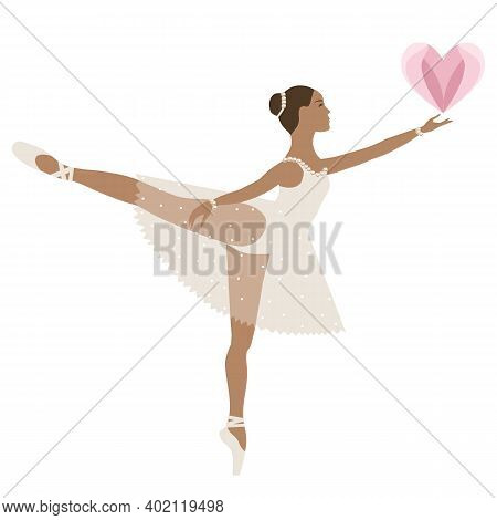 Dancing Ballerina With Heart, Girl In Tutu And Pointe Shoes, Beige Dress. Valentine Day. Love. Vecto