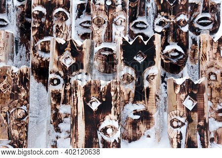 Perm Krai, Russia - January 02, 2021: Fragment Of A Snow-covered Art Object In The Form Of A Set Of