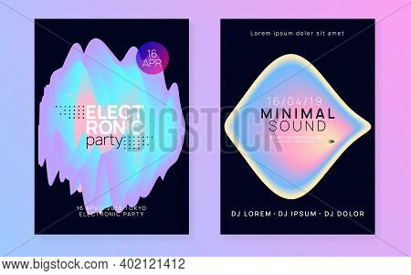 Music Poster Set. Electronic Sound. Night Dance Lifestyle Holiday. Geometric Indie Show Magazine Tem