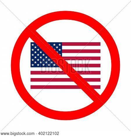 Boycott Usa Symbol Icon Illustration With A White Background