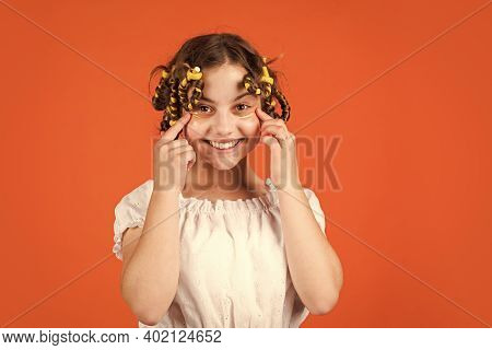 Get Refreshed. Beauty And Fashion. Small Girl Has Hair Curler Papillotes. Kid Hairdresser Salon. Hea