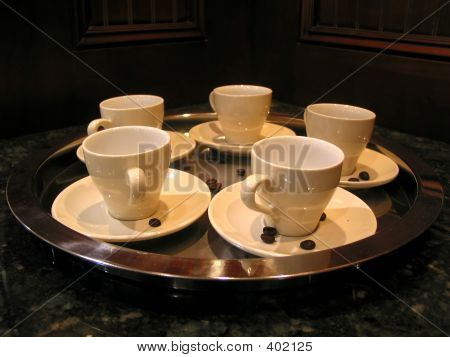 Coffee Cups On Tray