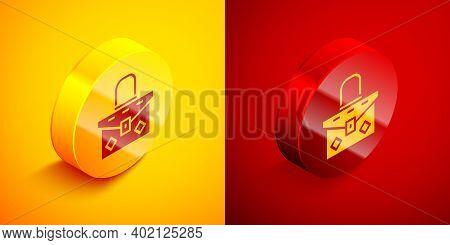 Isometric Handbag Icon Isolated On Orange And Red Background. Female Handbag Sign. Glamour Casual Ba