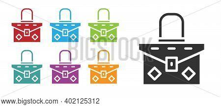 Black Handbag Icon Isolated On White Background. Female Handbag Sign. Glamour Casual Baggage Symbol.