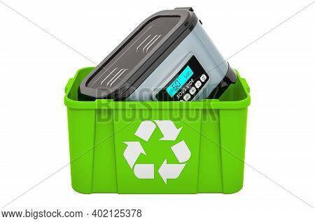 Recycling Trashcan With Sous Vide, 3d Rendering Isolated On White Background