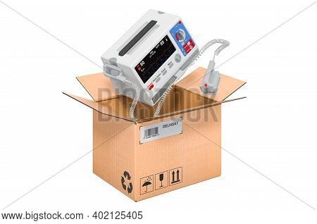 Automated External Defibrillator Inside Cardboard Box, Delivery Concept. 3d Rendering Isolated On Wh