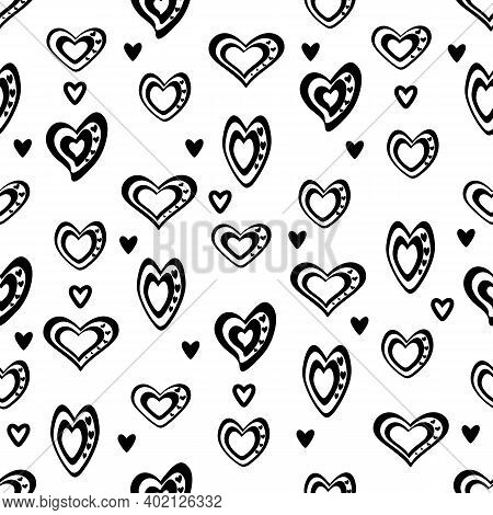 Seamless Vector Unidirectional Pattern. Stylized Black And White Hearts Mixed With Black And Outline