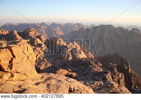 View From The Top Of Mount Moses, Mountains Of Egypt, The Highest Mountain In Egypt
