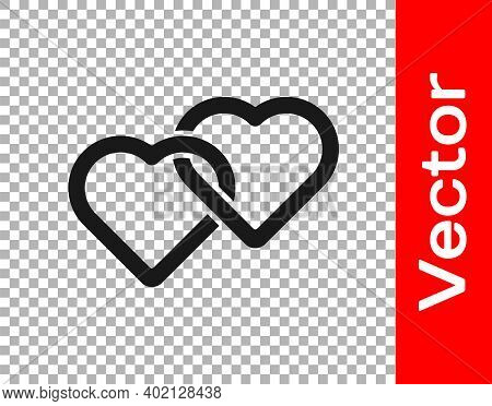 Black Two Linked Hearts Icon Isolated On Transparent Background. Romantic Symbol Linked, Join, Passi