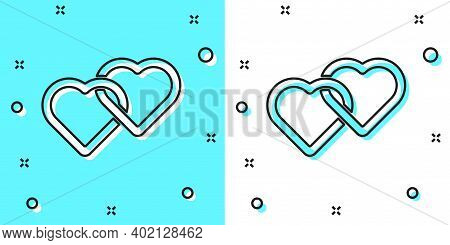 Black Line Two Linked Hearts Icon Isolated On Green And White Background. Romantic Symbol Linked, Jo