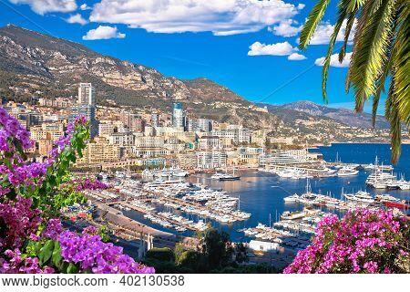 Monaco And Monte Carlo Cityscape And Harbor Colorful View, Principality Of Monaco