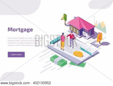 Mortgage Isometric Web Banner. Man Buy Home, Shake Hands To Real Estate Agent. Landing Page Of Prope