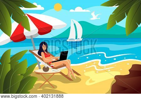 Pretty Girl In Swimsuits Sunbathing On Beach With Laptop Vector Flat Illustration. Woman Sitting In