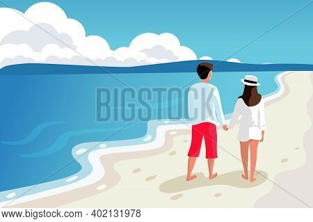 Young Couple Man And Woman Walking On The Beach Hold Hands Vector Illustration. Beach Scene On Sea V