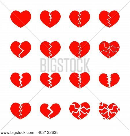 Set Of Red Broken Hearts Icons Isolated On White Background. Different Symbols Of Heartbreak, Divorc
