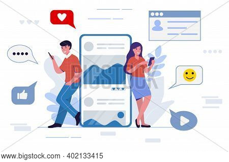 Young People Messaging Using A Mobile Phone Or Tablet Social Media Network Concept Vector Illustrati