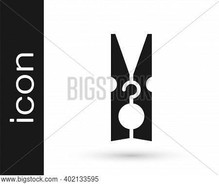Black Old Wood Clothes Pin Icon Isolated On White Background. Clothes Peg. Vector
