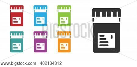 Black Biologically Active Additives Icon Isolated On White Background. Set Icons Colorful. Vector