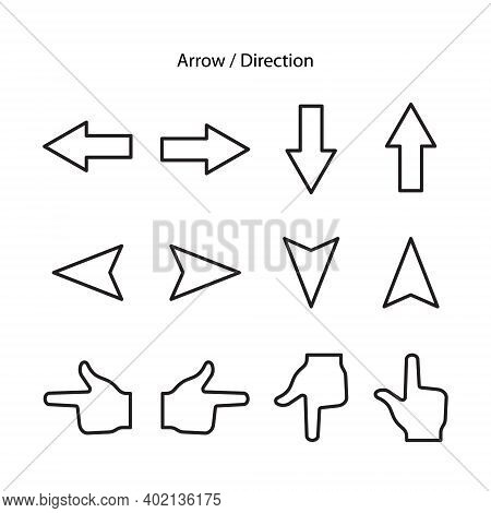Directions Icon Set Isolated On White Background From Location Collection. Directions Icon Trendy An