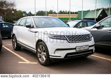 Moscow, Russia - August 15, 2020: Luxury Car Range Rover Velar In The City Street.