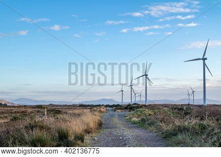 Portnoo , Ireland - December 06 2020 : The Loughderryduff Windfarm Is Producing Between Ardara And P