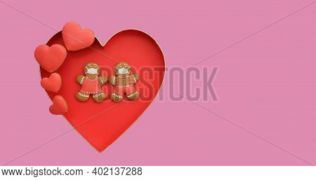 Cute Funny Gingerbread Couple With Face Mask In Heart Decoration For Valentine Day. Sweet Love Conce