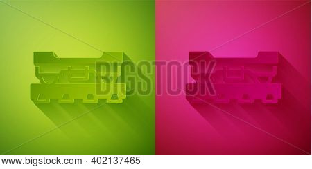 Paper Cut Cargo Train Wagon Icon Isolated On Green And Pink Background. Freight Car. Railroad Transp