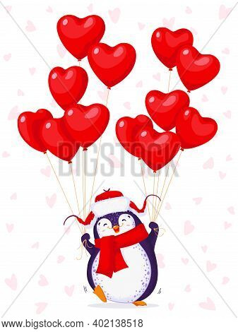 Greeting Card For Valentine Day With A Funny Penguin In A Hat With Ear Flaps. Cartoon Penguin With B