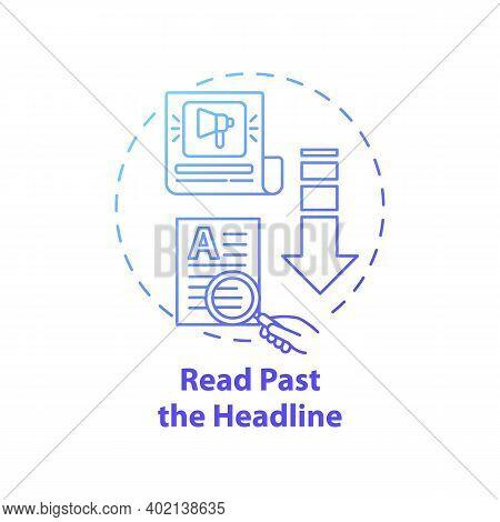 Reading Past Headline Concept Icon. Fake News Checking Idea Thin Line Illustration. Reaching Snap Co