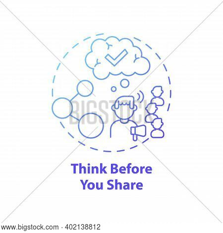 Thinking Before Sharing Concept Icon. Fake News Check Idea Thin Line Illustration. Critical Thinking