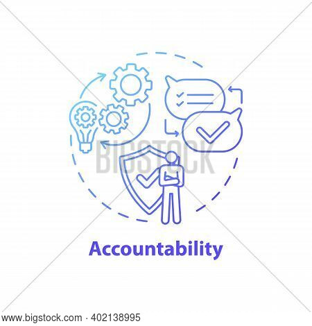 Accountability Concept Icon. Journalistic Ethics Standards Idea Thin Line Illustration. Fact-checkin
