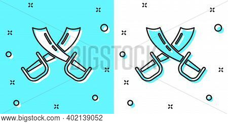 Black Line Crossed Pirate Swords Icon Isolated On Green And White Background. Sabre Sign. Random Dyn