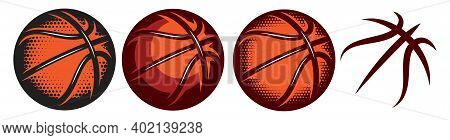 A Set Of Color Basketballs With Different Designs. Templates For Logo Design. Vector Isolated Illust