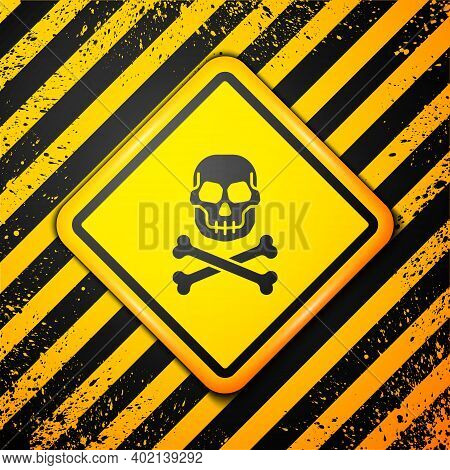 Black Skull On Crossbones Icon Isolated On Yellow Background. Happy Halloween Party. Warning Sign. V