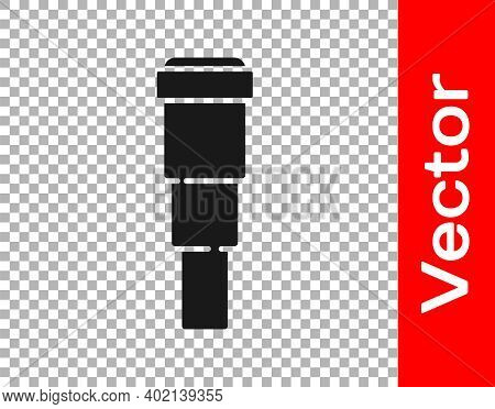 Black Spyglass Telescope Lens Icon Isolated On Transparent Background. Sailor Spyglass. Vector
