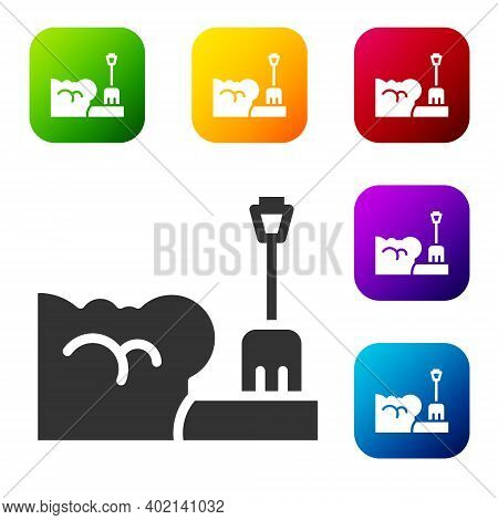 Black Shovel In Snowdrift Icon Isolated On White Background. Set Icons In Color Square Buttons. Vect